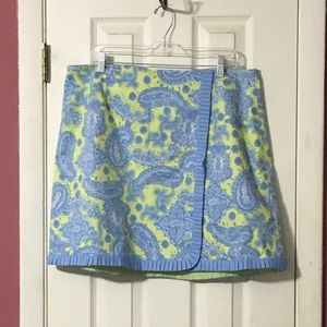 🎉HP 🎉Lilly & Van green blue faux wrap skirt